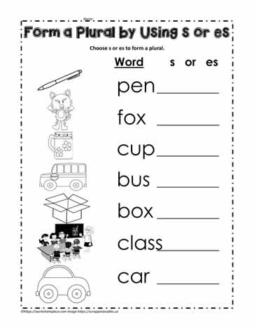 Add s or es to Make a Plural Worksheets