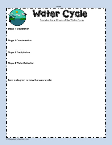 4 Stages Of The Water Cycle Worksheets