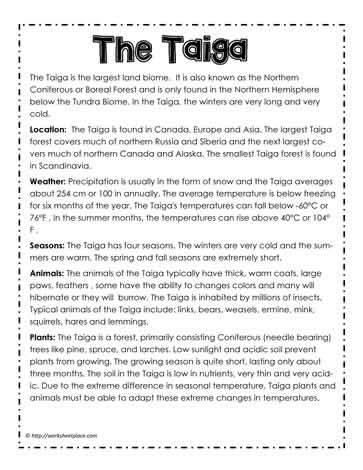 taiga biome research paper Physical description the taiga biome is the largest terrestrial biome on the earth it has many features such as mountains ,trees ,and lakes.