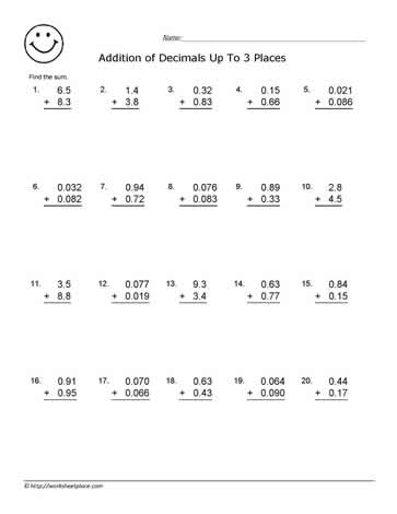 addition decimal worksheets breadandhearth. Black Bedroom Furniture Sets. Home Design Ideas