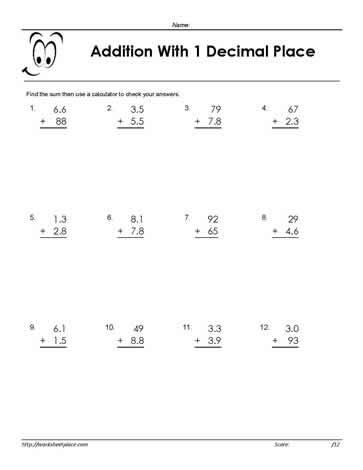 adding decimals 1 place - Adding Decimals Worksheet