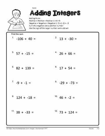 Adding Integers Worksheets