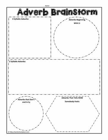 adverb brainstorm worksheets. Black Bedroom Furniture Sets. Home Design Ideas
