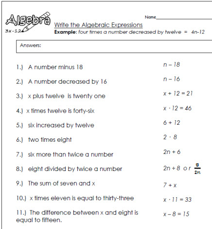 Algebraic Expressions 1 Worksheets