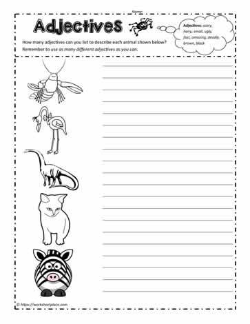 animal adjectives worksheets. Black Bedroom Furniture Sets. Home Design Ideas