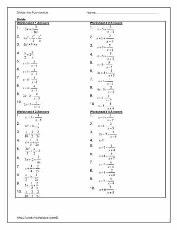 Answers to Dividing Polynomials Worksheets