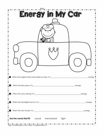 Energy in a Car Worksheets