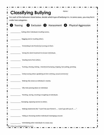 Printables Bullying Worksheets bullying worksheetsworksheets classify bully behaviors