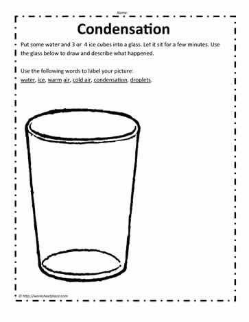 Condensation Experiment Worksheets