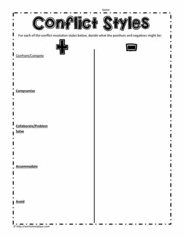 Conflict Styles Worksheets