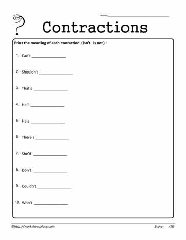 Contractions Worksheet 16