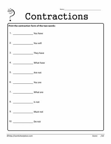 Contractions Worksheet 9
