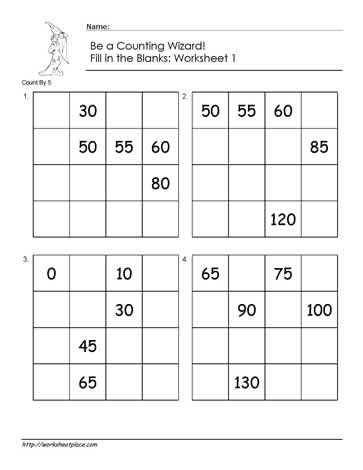 Count by 5 - Worksheet 1