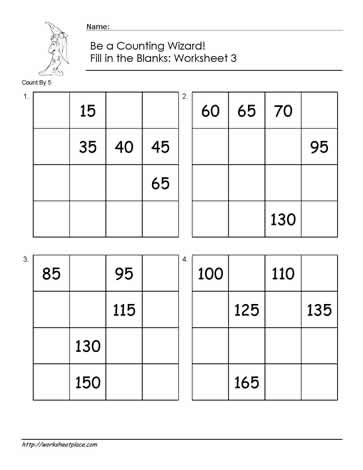 Count by 5 - Worksheet 3