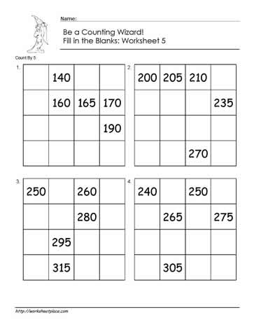 Count by 5 - Worksheet 5