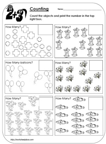 Count the Objects to 20 Worksheets