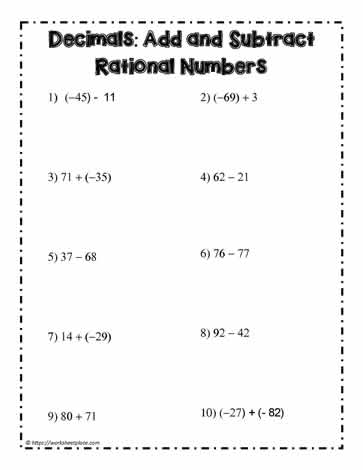 Decimals: Add and Subtract Rationals