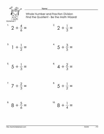 math worksheet : divide fractions by a number worksheets : Fractions Of A Whole Number Worksheet