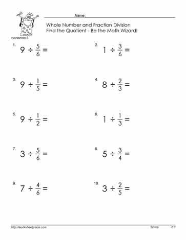 Divide Fractions By Whole Number-3 Worksheets