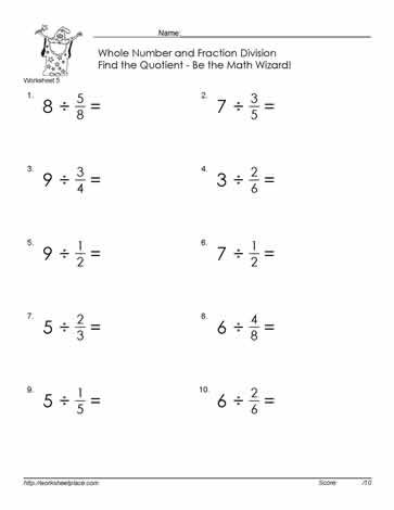 Divide Fractions By Whole Number-5 Worksheets
