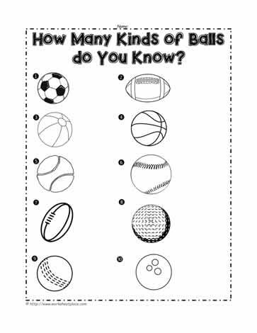 sports balls worksheets. Black Bedroom Furniture Sets. Home Design Ideas