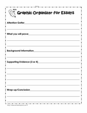 essay organizers worksheets Free printable graphic organizer worksheets and blank charts for k-12+ teachers and students - browse our selection and click on your choice - 100% free to print.