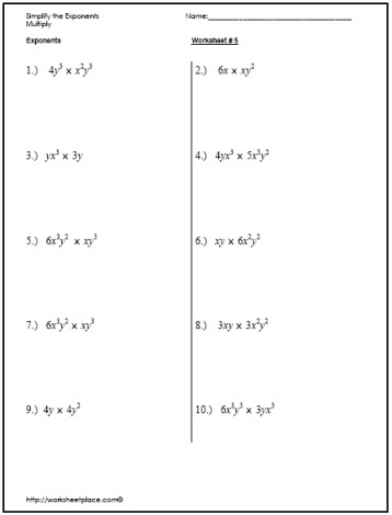 Simplify Exponents Worksheet: simplify exponents worksheets,