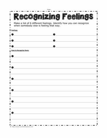 Recognizing Feelings Worksheets