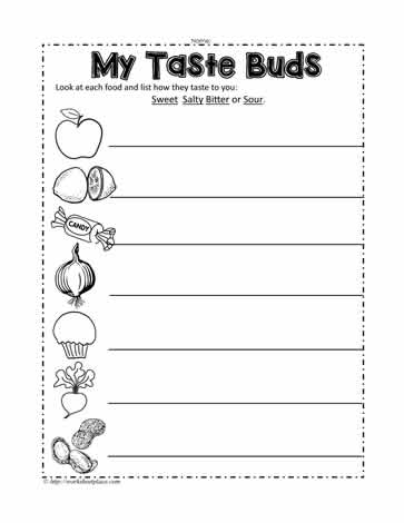 my taste buds worksheets. Black Bedroom Furniture Sets. Home Design Ideas