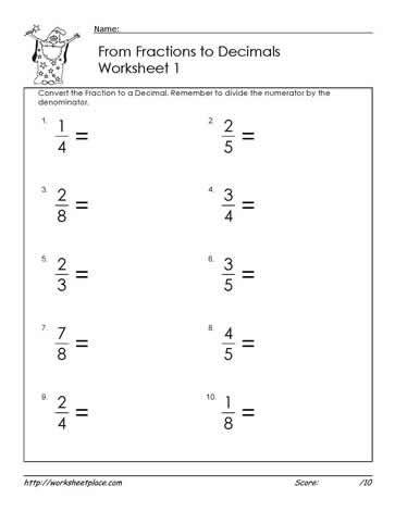 Fractions to Decimals Worksheets