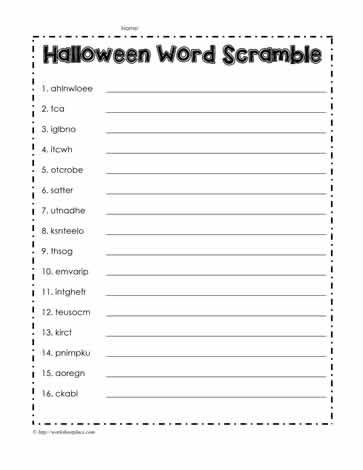 Halloween Word Scramble Worksheet Worksheets