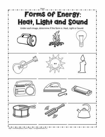 Light energy worksheets for grade 1