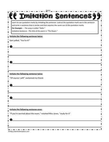 Quotation Marks Worksheets