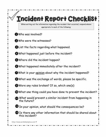 dispute resolution policy template - incident report checklist worksheets