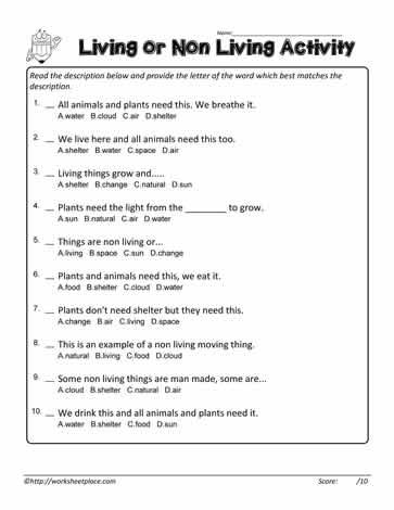 Living Non Living Multiple Choice Worksheets