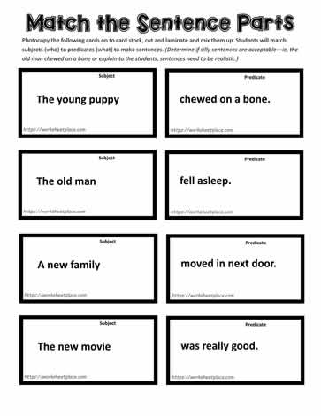 Match the Sentences Cards 3 Pages