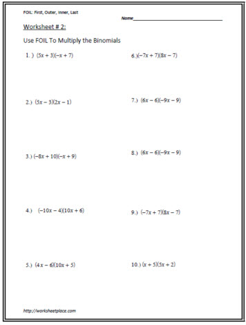 Multiply the Binomials Worksheet 2 Worksheets