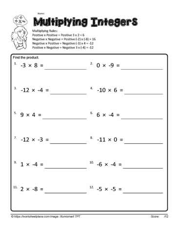 Multiplying Integers 4 Worksheets