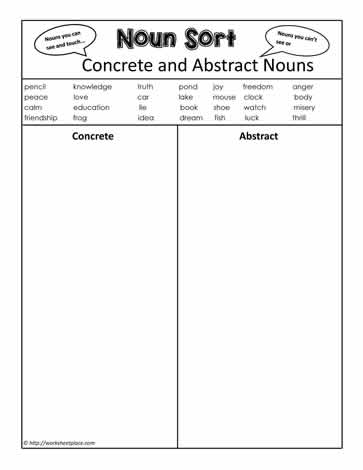 Abstract or Concrete Nouns? Worksheets