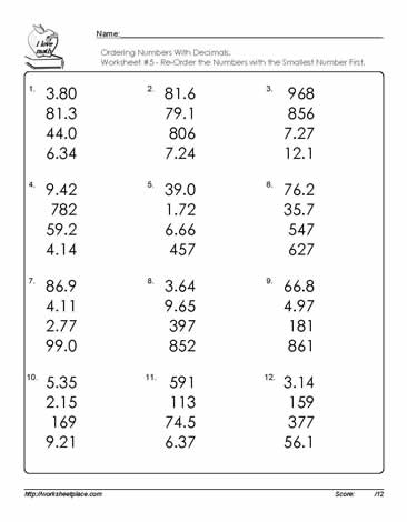 Ordering numbers with decimals worksheets ordering numbers with decimals ibookread ePUb