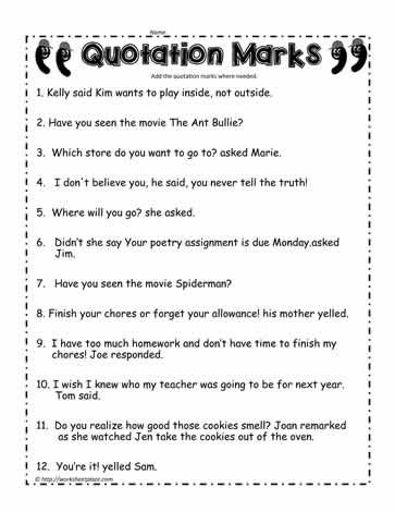 Worksheets Quotation Marks Worksheets quotation marks worksheet 1worksheets 1