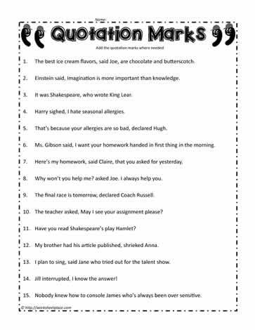 quotation mark worksheet worksheets. Black Bedroom Furniture Sets. Home Design Ideas