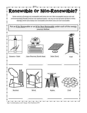 Renewable or Non-renewable Energy Worksheets