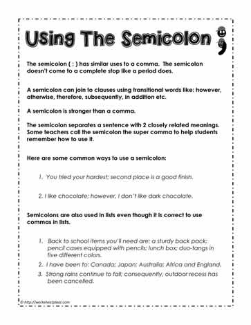 how to use a semicolon worksheets. Black Bedroom Furniture Sets. Home Design Ideas