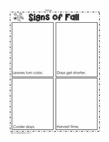 show by using appropriate colors when completing the signs of fall worksheets this worksheet would be done by kindergarten and early first grade students