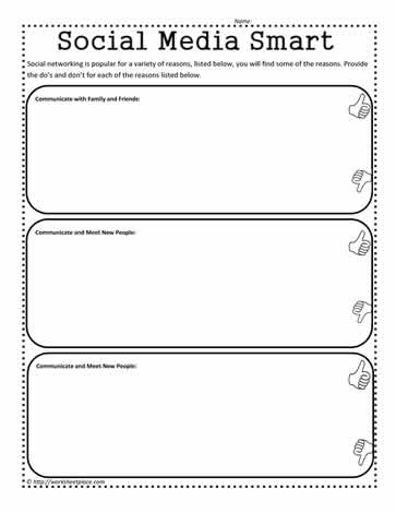 know your social media worksheets. Black Bedroom Furniture Sets. Home Design Ideas