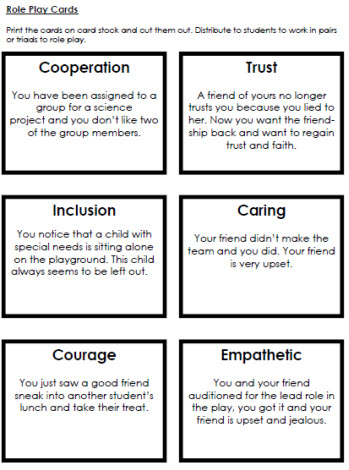 Character Role Play Cards Worksheets