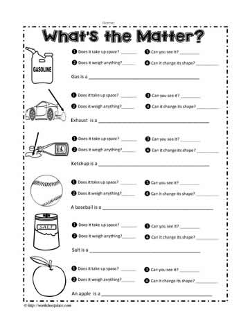 Free 2nd grade science worksheets on matter