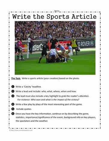 write a sports article worksheets. Black Bedroom Furniture Sets. Home Design Ideas