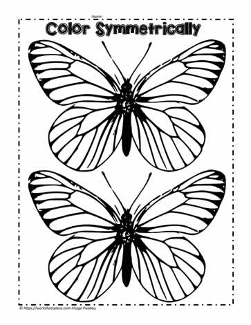 Symmetrical Butterflies to Color Worksheets
